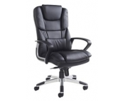 PALERMO BLACK FINISH LEATHER FACED CHAIR