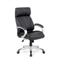 CLOUD LEATHER FACED MANAGERS CHAIR - BLACK 48 HOUR DELIVERY