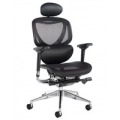 BORON BLACK LEATHER FACED EXECUTIVE CHAIR