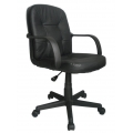 DELPH 2014MB/LBK MEDIUM BACK LEATHER FACED EXECUTIVE ARMCHAIR - 48 HOUR DELIVERY