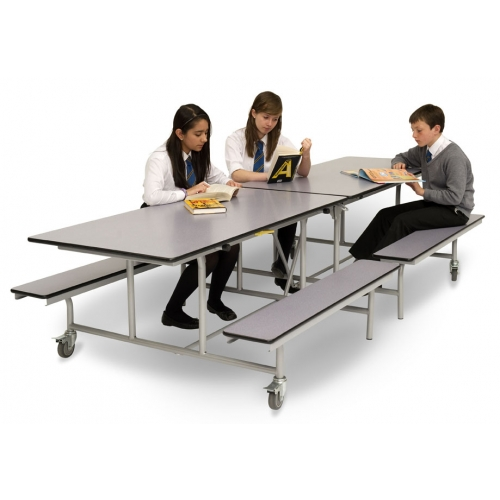 Rectangular mobile folding bench unit for 10 people table