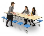 12 SEAT RECTANGULAR MOBILE FOLDING TABLE SEATING UNITS EDUCATIONAL