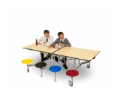 8 SEAT RECTANGULAR MOBILE FOLDING TABLE SEATING UNITS EDUCATIONAL