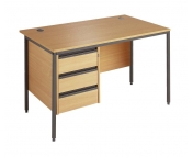 BUDGET STRAIGHT DESK WITH 3 DRAWER FIXED PEDESTAL - EXPRESS DELIVERY NEXT DAY