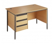 BUDGET DESK WITH  3 DRAWER PEDESTAL AND SIDE MODESTY PANEL