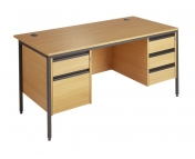 DESK WITH 2 DRAWER AND 3 DRAWER PEDESTALS