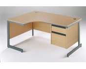 ERGONOMIC DESK WITH 2 DRAWER PEDESTAL WITH CANTILEVER LEGS