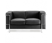 CUBED LEATHER FACED RECEPTION TWO SEATER SOFA
