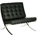 CONTEMPORARY  LEATHER FACED RECEPTION CHAIR - CLASSIC BUTTON DESIGN