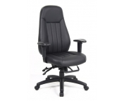 EXECUTIVE HIGH BACK TASK CHAIR BLACK LEATHER FACED HEAVY DUTY 24 HOUR USAGE