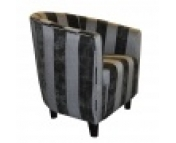 Black Striped Fabric Tub Chair