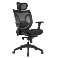 MESH HIGH BACK EXECUTIVE ARMCHAIR WITH INTEGRAL HEADREST BLACK - EXPRESS DELIVERY