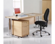 STRAIGHT DESK WITH 2 DRAWER PEDESTAL BEECH