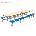 16 SEAT RECTANGULAR MOBILE FOLDING TABLE SEATING UNITS